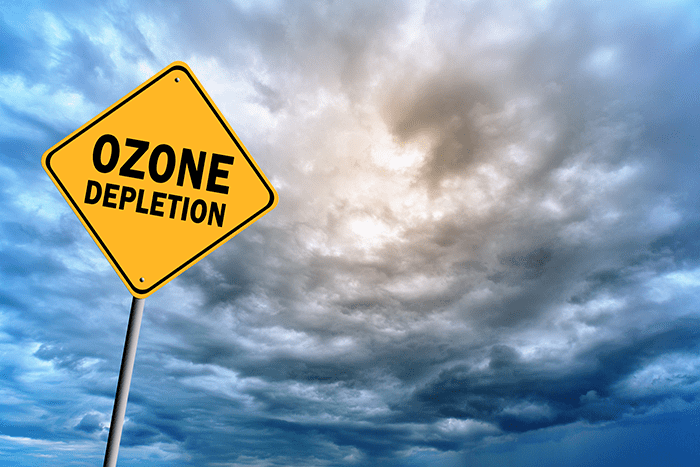 the chemical content and depletion of the ozone later The ozone layer is 20-30 kilometres above earth's surface and absorbs a   observations showed that ozone levels in the stratosphere above.